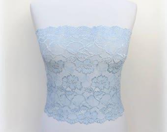 Light blue floral lace bandeau top. Light blue lace strapless. Light blue lace lingerie.