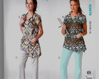 K3979 Kwik Sew Womens Scrubs Tops and Pants Sewing Pattern Sizes XS-XL