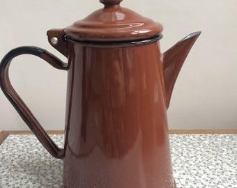 Enamel brown coffee pot