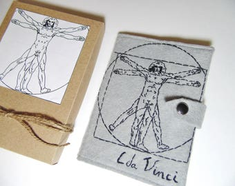Passport cover Leonardo da Vinci - Unique Passport holder - Art Vegan wallet - Hand embroidered Vetruvian man - Travel gift case