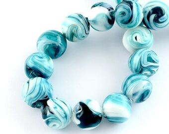 Set of 2 glass paste, 14mm beads, round, blue and white