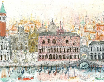 Venice Watercolour, Grand Canal Print, Venice Canal Art, Venice Painting, Piazza San Marco, Italy Home Decor, Signed Art Print Venetian View