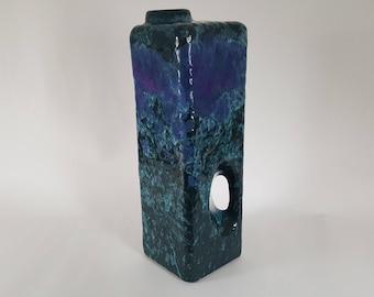 Rare Marei Keramik 2006 blue & purple Fat Lava chimney vase
