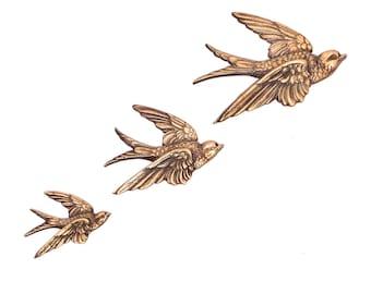 Mid Century Brass Bird Wall Hanging, Vintage Swallow Ornament, Gold Swift Wall Decor, Bird Wall Plaque, Retro Flying Birds, Made in England