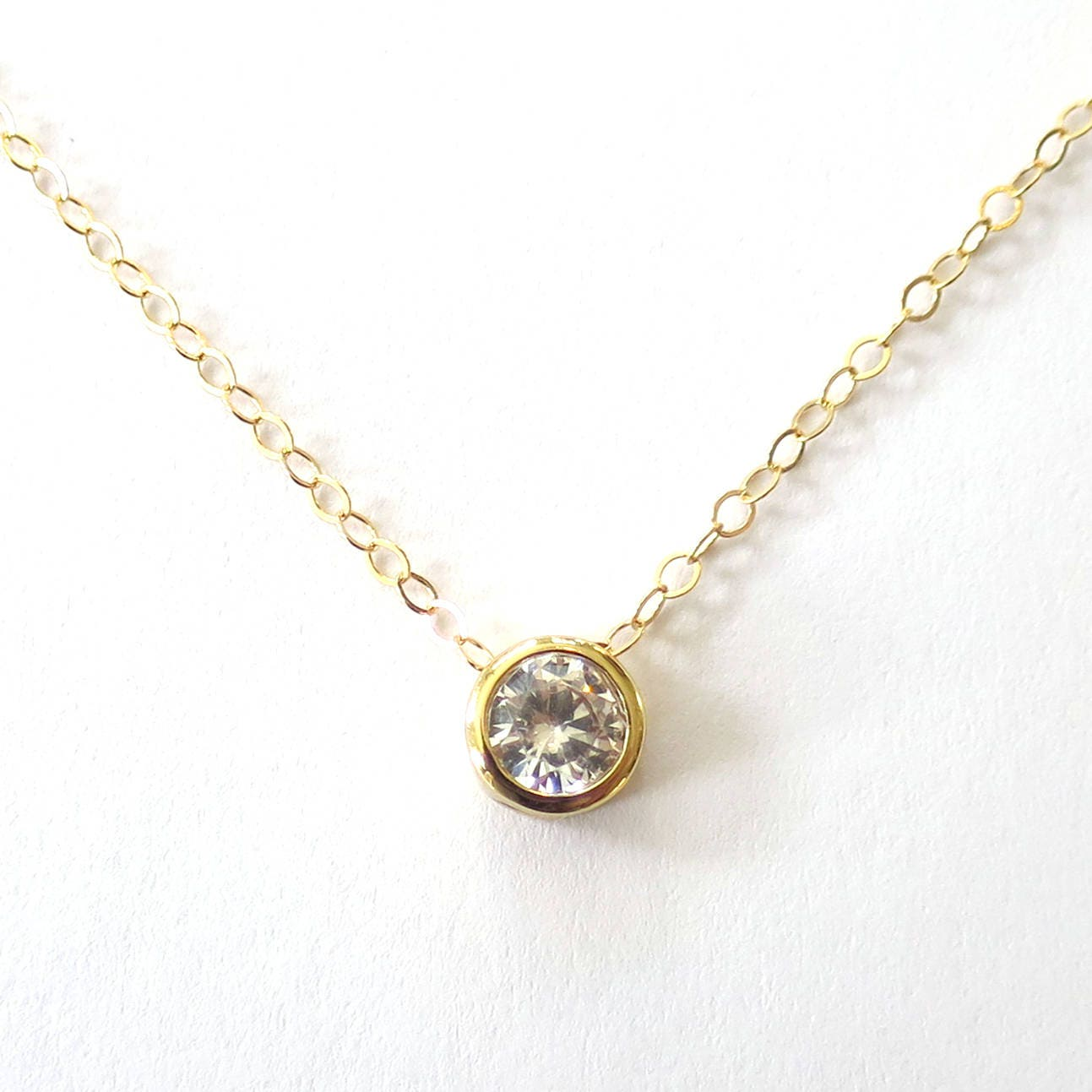 Bezel Cz Solitaire Necklace