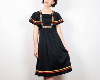 Vintage Scarf Sleeve Dress 1970s Dress Black Red Yellow Ribbon Bohemian Midi Dress Hippie Dress 70s Angel Sleeve Flutter Folk XS Extra Small