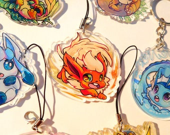 2 inch doubled sided acrylic Flareon Charm