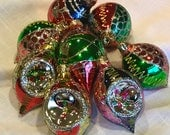 Vintage Christmas Ornaments Glass Hand Painted Teardrop Shapes Indents