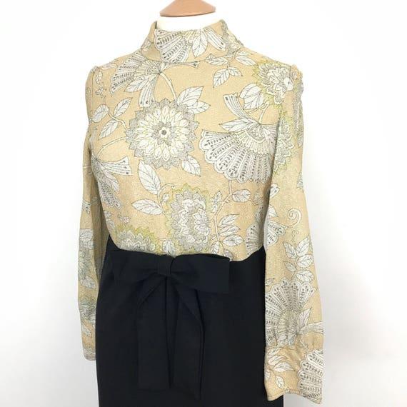 Vintage maxi dress babydoll baroque gold bodice black crimplene skirt empire line 1960s dress UK 14 70s party festival sparkly golden