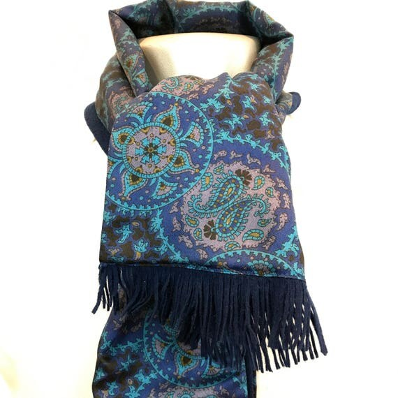 Vintage gents scarf Paisley wool back silky scarf blue navy long oblong tassel Tootal Mod vintage gent cravat Goodwood scooter gentleman