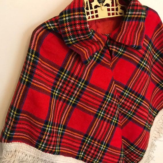Childrens vintage tartan cape age 3 red plaid fringed poncho kids retro childs cape