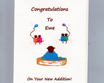 New Baby Boy Card / Congratulation to Ewe on Your New Addition