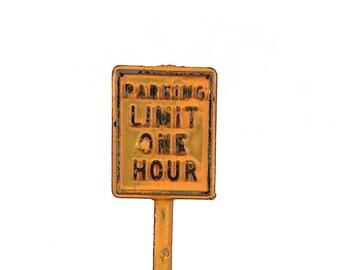 Vintage Tootsietoy Road Sign - Miniature Toy Road Sign - Miniature Parking Sign - Diorama Accessories - Miniature Sign - Fun Office Decor