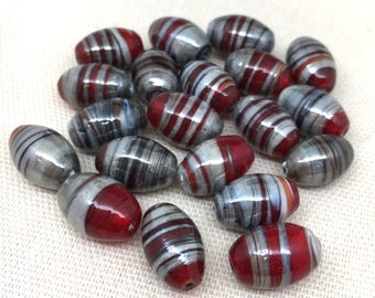 10 Vintage Red Silver Striped Oval Glass Beads
