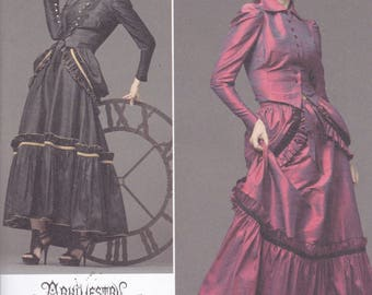 Simplicity 2207 Costume Pattern Victorian Dress In 2 Variations Steampunk Look Size 6,8,10,12 UNCUT