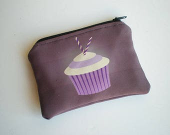 Coin purse, Small zipper pouch, Card wallet, Gift for her, Cupcake, Woman gift, Cupcake pouch, Gift idea