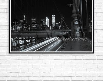 NYC Skyline Print at Night From Brooklyn Bridge Available On Canvas