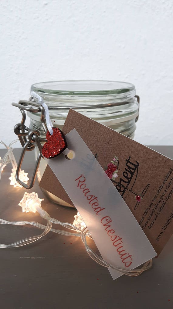 Roasted chestnuts scented, eco friendly, vegan soy wax candles in reusable Kilner style jars.