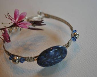 Sterling silver wire wrapped Blue Sodalite Stone Bracelet, stone and crystal bracelet, gemstone jewelry