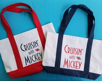 Cruise Boat Tote - Tote Bag - Cruisin' with Mickey - Disney Cruise - Color/design choice - Royal Caribbean - Norwegian - Carnival - MSC