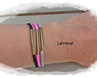 Triple bracelet links suede hot pink black and gray glitter