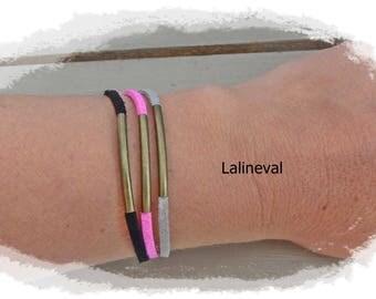 Triple bracelet links suede hot pink black and gray glitter