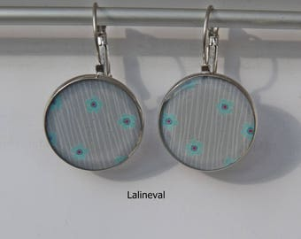 Earrings grey striped with flowers and blue