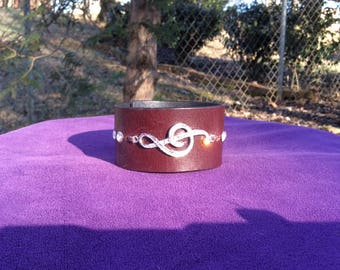 Burgundy  Leather Cuff with Rhinestone Treble Clef Symbol