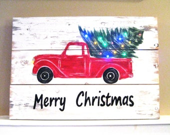 Red Truck Sign,Rustic Wood Sign,Christmas Sign,Light Up Sign,Wooden Sign,Tabletop Sign,Country Christmas,Christmas Decor,Reclaim Wood Sign