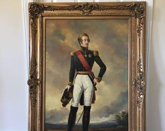 "Large oil on canvas reproduction painting portrait of Dutch  Louis Duke of Nemours after an 17c original  45"" x 33"""