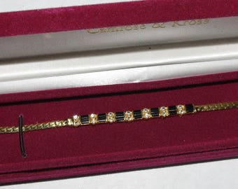 Jackie Kennedy GP Bracelet - 24K, Black Onyx and Crystals, Box and Certificate - Sz 7
