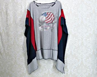 Womens Poncho,Upcycled Clothing,Plus Size Poncho,Baseball Tunic,Grey Navy Red,Boho Clothing,T Shirt Tunic,Summer Dress,Festival Clothing