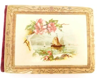 Antique 1907 Celluloid and Velvet Autograph Book Sailboats and Flowers