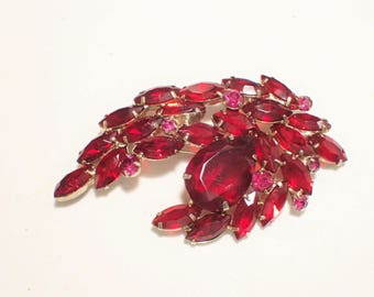 Christmas Red Open Back Unfoiled Rhinestone Spray Vintage Brooch