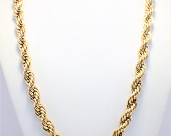 Vintage Napier Big and Chunky  Braided Twisted Gold Rope Necklace
