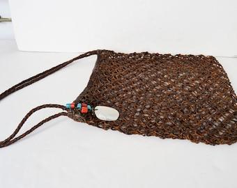 Shoulder bag leather braided