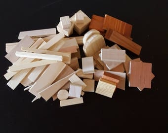 Lot 50+ wooden shapes/ miniature wooden pieces/ wood scraps for craft projects/ / small wooden blocks/ art supplies/ wooden craft supplies