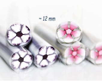 Flower Polymer Cane White-Purple or Pink