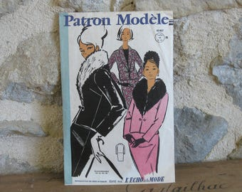 1960s sewing pattern for tailored skirt suit, Patron Modele 85057