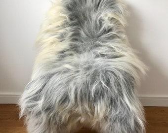 XXL Large Luxurious Genuine Icelandic Sheepskin Rug Long Fur/Wool In Natural Grey/White/Ivory/Cream Color
