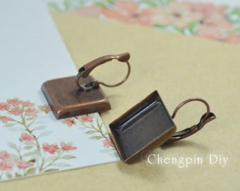 DIY Earring - Square French Lever Back Earring Blanks - 16mm,18mm,20mm Square Earring Bezels