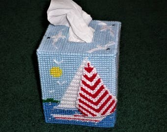 Plastic Canvas Tissue Box Covers - Sailboat Tissue Box Cover -  Lighthouse Seagulls Sailboat Plastic Canvas Tissue Box Cover - Tissue Box