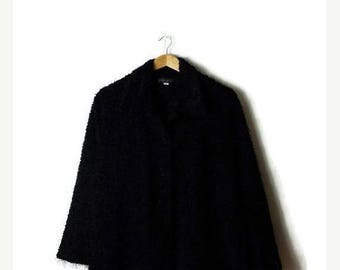 ON SALE Vintage Plain Black  Fluffy Long sleeve Blouse from 90's/minimalist/Minimal*