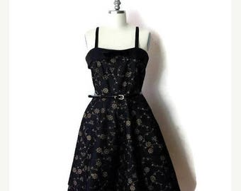 ON SALE Vintage Black x Gold Sleeveless Dress from 1960's*