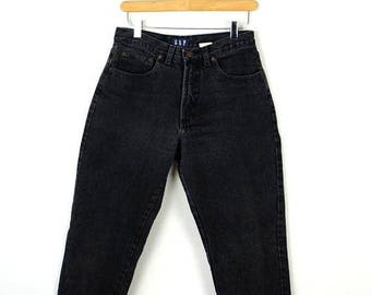 ON SALE Vintage Black High waist Denim Tapered Pants/Jeans from 80's/W26/Gap*