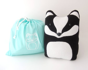 DIY Kit Badger Woodland Pillow Plush - Fleece Fabric Animal Plushie - Do It Yourself Craft for Children and Adults - Make Your Own Badger