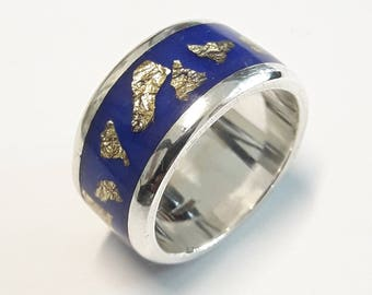 Sterling silver 925 band ring with blue resine and gold flakes, with personalized text