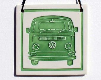 VW Bus Porcelain Relief Print