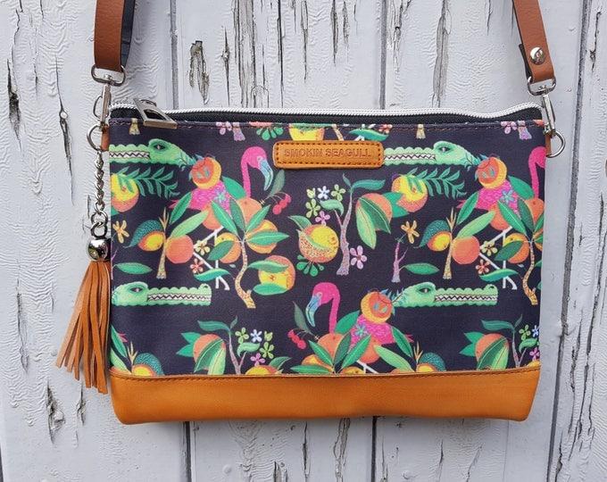 Tropical Crocodile & Flamingo Handbag - Cartoon Island Summer Holiday Brown Bag