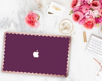Purple Davenport and Scallop Rose Gold Edge Hybrid Hard Case for Apple Mac Air & Mac Retina , New Macbook 2016 - Platinum Edition
